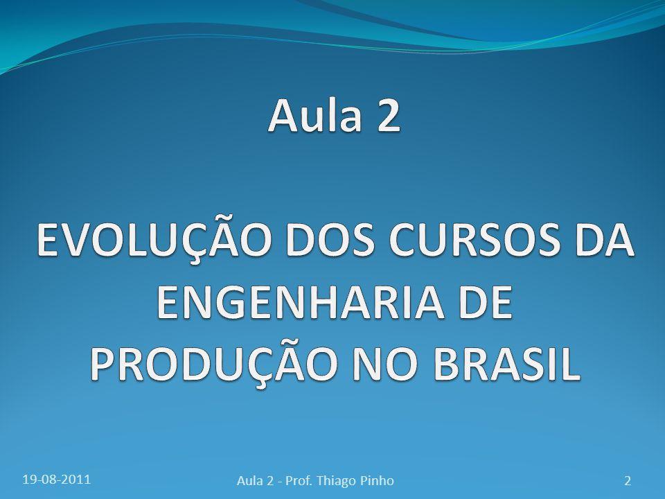 EVOLUÇÃO DA ENGENHARIA DE PRODUÇÃO NO BRASIL 3Aula 2 - Prof. Thiago Pinho19-08-2011