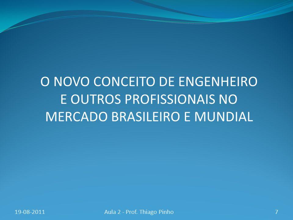 7Aula 2 - Prof. Thiago Pinho O NOVO CONCEITO DE ENGENHEIRO E OUTROS PROFISSIONAIS NO MERCADO BRASILEIRO E MUNDIAL 19-08-2011