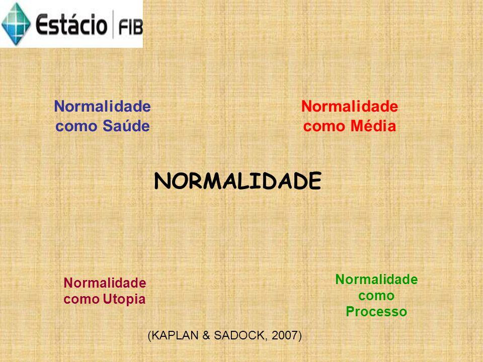 NORMALIDADE Normalidade como Saúde Normalidade como Utopia Normalidade como Média Normalidade como Processo (KAPLAN & SADOCK, 2007)