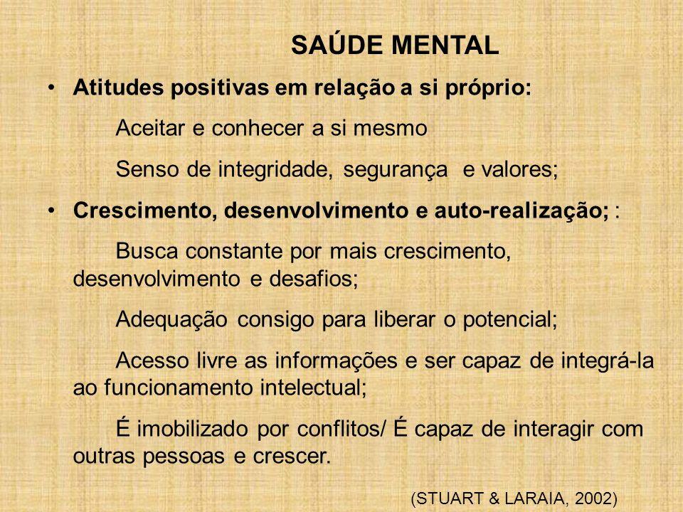 SAÚDE MENTAL Atitudes positivas em relação a si próprio: Aceitar e conhecer a si mesmo Senso de integridade, segurança e valores; Crescimento, desenvo