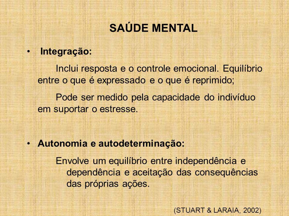 SAÚDE MENTAL Integração: Inclui resposta e o controle emocional. Equilíbrio entre o que é expressado e o que é reprimido; Pode ser medido pela capacid