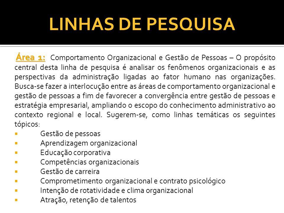 LINHAS DE PESQUISA Área 1: Área 1: Comportamento Organizacional e Gestão de Pessoas – O propósito central desta linha de pesquisa é analisar os fenôme
