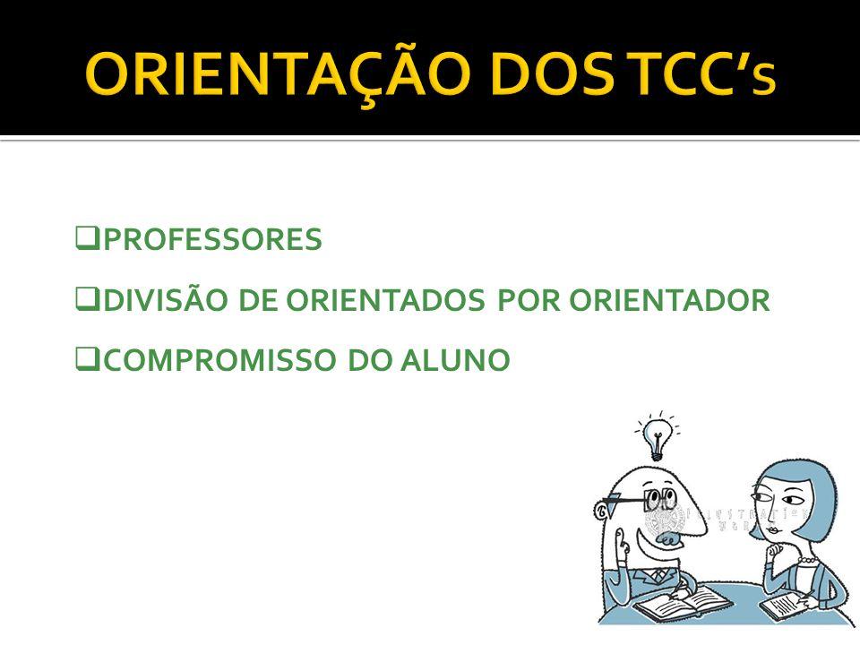ORIENTAÇÃO DOS TCC S PROFESSORES DIVISÃO DE ORIENTADOS POR ORIENTADOR COMPROMISSO DO ALUNO
