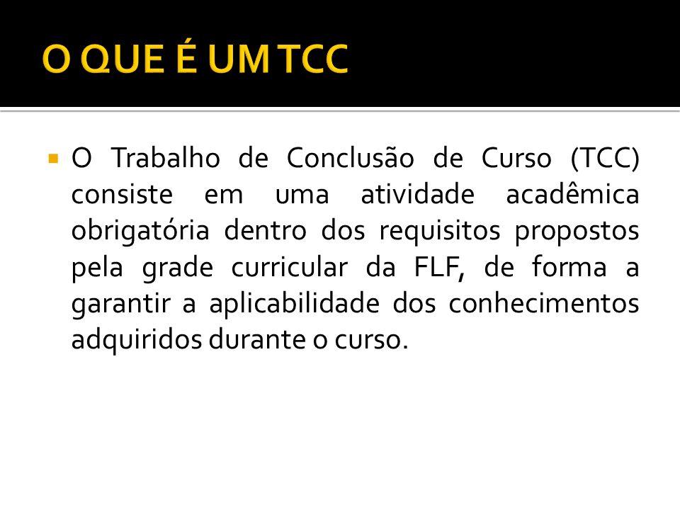 O Trabalho de Conclusão de Curso (TCC) consiste em uma atividade acadêmica obrigatória dentro dos requisitos propostos pela grade curricular da FLF, d