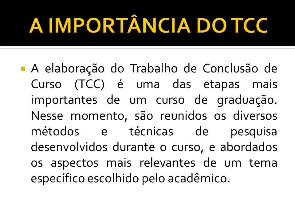 A elaboração do Trabalho de Conclusão de Curso (TCC) é uma das etapas mais importantes de um curso de graduação. Nesse momento, são reunidos os divers