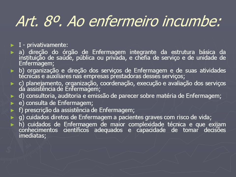 Art. 8º. Ao enfermeiro incumbe: I - privativamente: a) direção do órgão de Enfermagem integrante da estrutura básica da instituição de saúde, pública