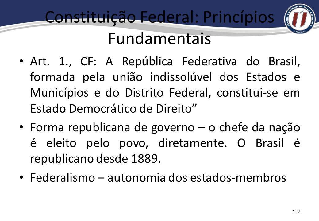 Constituição Federal – Princípios e Direitos 9 Supremacia do texto constitucional Supremacia do interesse público ao privado Legalidade – ninguém é ob