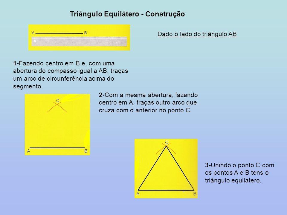 Triângulo Equilátero - Construção Dado o lado do triângulo AB 1-Fazendo centro em B e, com uma abertura do compasso igual a AB, traças um arco de circ