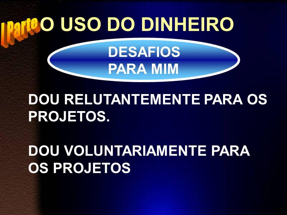 O USO DO DINHEIRO DESAFIOS PARA MIM DOU PARA OS PROJETOS DE MANEIRA PLANEJADA.