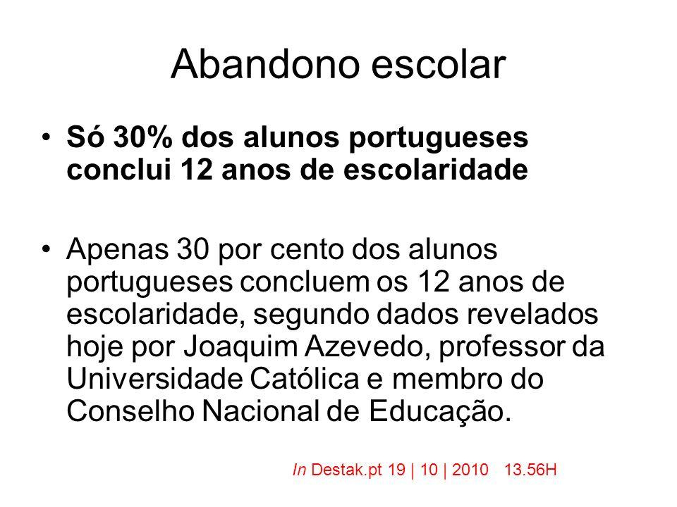 Abandono escolar Só 30% dos alunos portugueses conclui 12 anos de escolaridade Apenas 30 por cento dos alunos portugueses concluem os 12 anos de escol