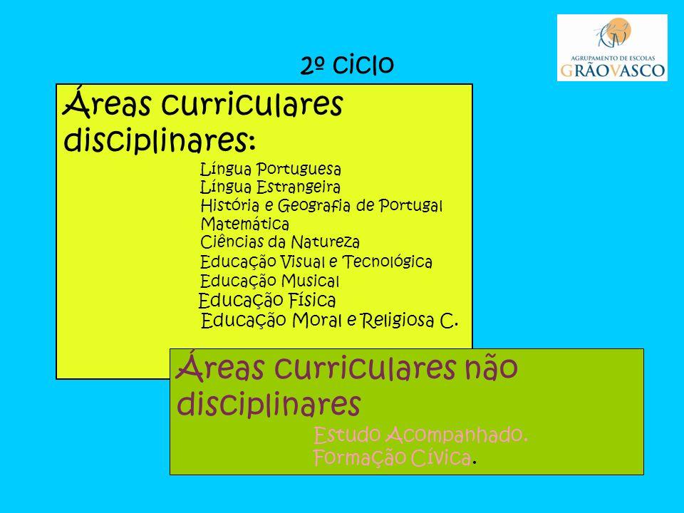 2º ciclo Áreas curriculares disciplinares: Língua Portuguesa Língua Estrangeira História e Geografia de Portugal Matemática Ciências da Natureza Educação Visual e Tecnológica Educação Musical Educação Física Educação Moral e Religiosa C.