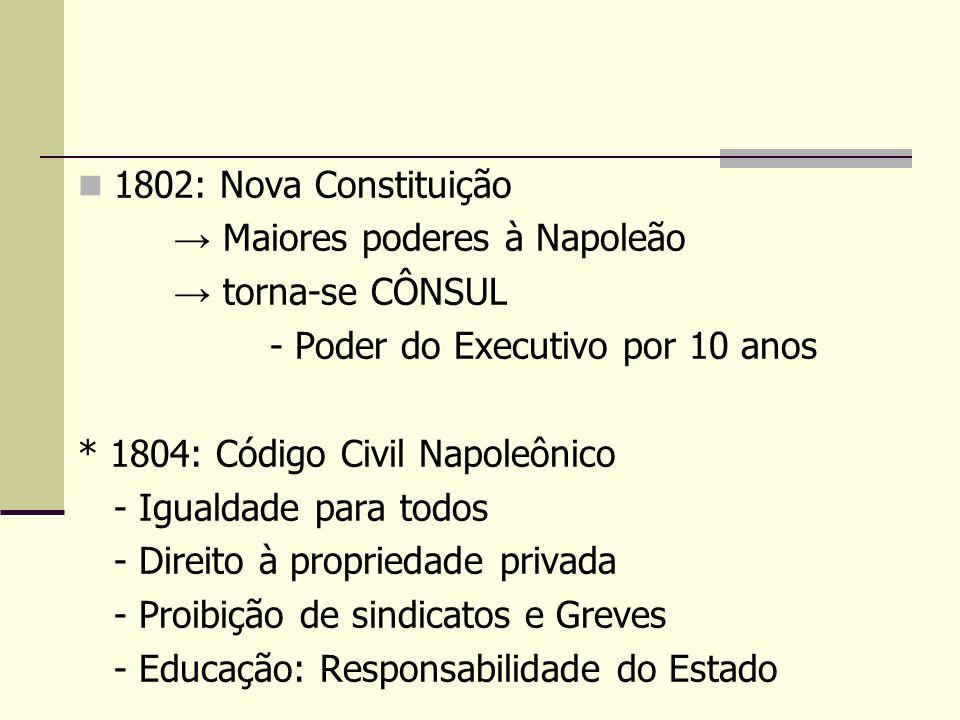 1802: Nova Constituição Maiores poderes à Napoleão torna-se CÔNSUL - Poder do Executivo por 10 anos * 1804: Código Civil Napoleônico - Igualdade para