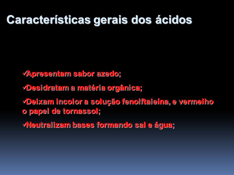 Características gerais dos ácidos Apresentam sabor azedo; Apresentam sabor azedo; Desidratam a matéria orgânica; Desidratam a matéria orgânica; Deixam