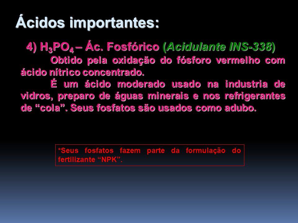 4) H 3 PO 4 – Ác. Fosfórico (Acidulante INS-338) Obtido pela oxidação do fósforo vermelho com ácido nítrico concentrado. É um ácido moderado usado na