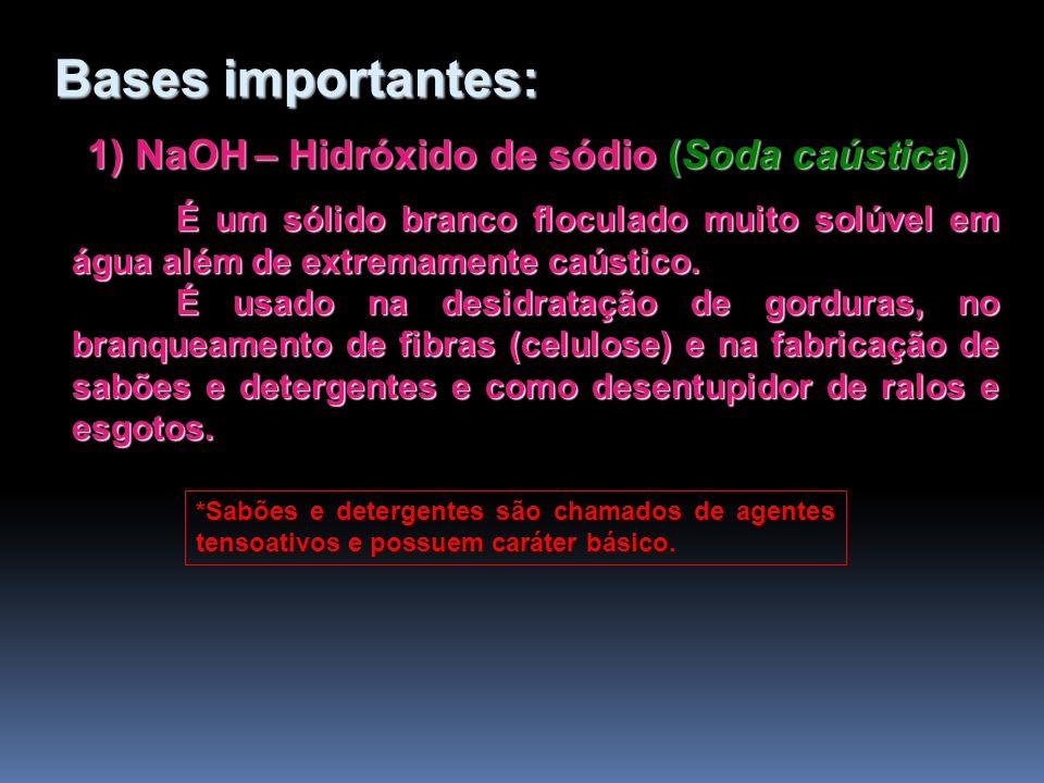 1) NaOH – Hidróxido de sódio (Soda caústica) É um sólido branco floculado muito solúvel em água além de extremamente caústico. É usado na desidratação