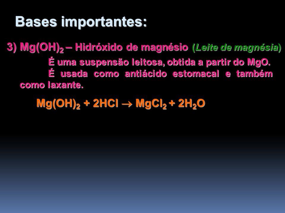3) Mg(OH) 2 – Hidróxido de magnésio (Leite de magnésia) É uma suspensão leitosa, obtida a partir do MgO. É usada como antiácido estomacal e também com