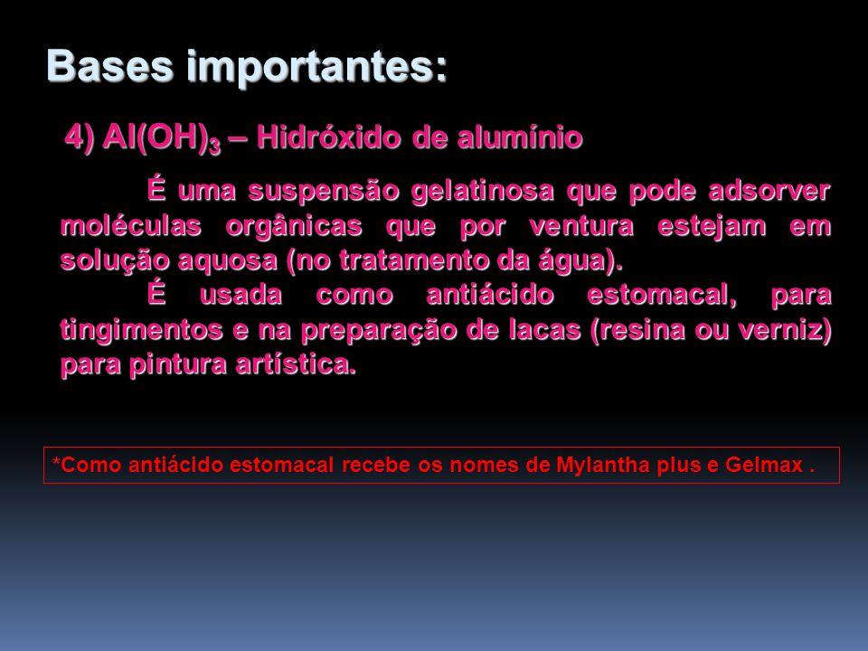 4) Al(OH) 3 – Hidróxido de alumínio 4) Al(OH) 3 – Hidróxido de alumínio É uma suspensão gelatinosa que pode adsorver moléculas orgânicas que por ventu