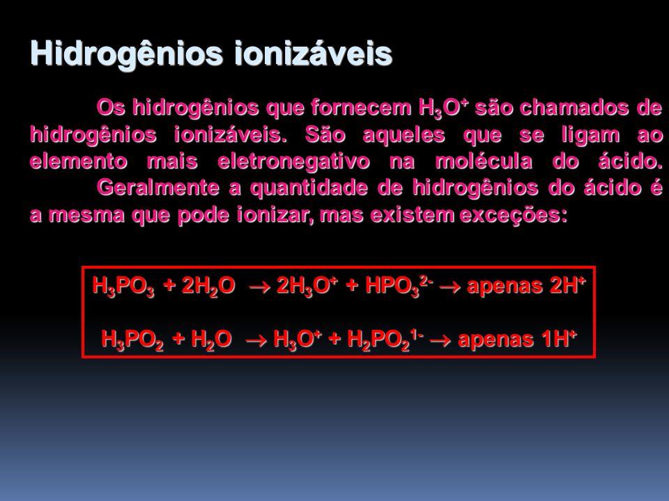 Classificação dos Ácidos Quanto a presença ou ausência de Oxigênio Hidrácidos (HCl, H 2 S, HBr) Oxiácidos (H 2 SO 4, H 3 PO 4, HClO 4 ) Quanto a presença ou ausência de Carboxila (-COOH) Orgânicos (CH 3 -COOH, HOOC-COOH) Inorgânicos (H 2 CO 3, H 2 CO 2, HCN)