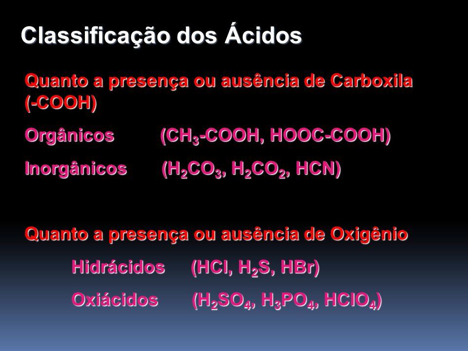 Classificação dos Ácidos Quanto ao número de elementos Químicos: Binário (HCl, HBr, HF) Ternário (H 2 SO 4, H 3 PO 4, HCN) Quanto ao número de Hidrogênios Ionizáveis: Monoácidos (HCl, HI, H 3 PO 2 ) Diácidos (H 2 SO 4, H 2 S, H 3 PO 3 ) Triácidos (H 3 PO 4, H 3 BO 3, H 3 BO 2 ) Tetrácidos (H 4 P 2 O 7 )