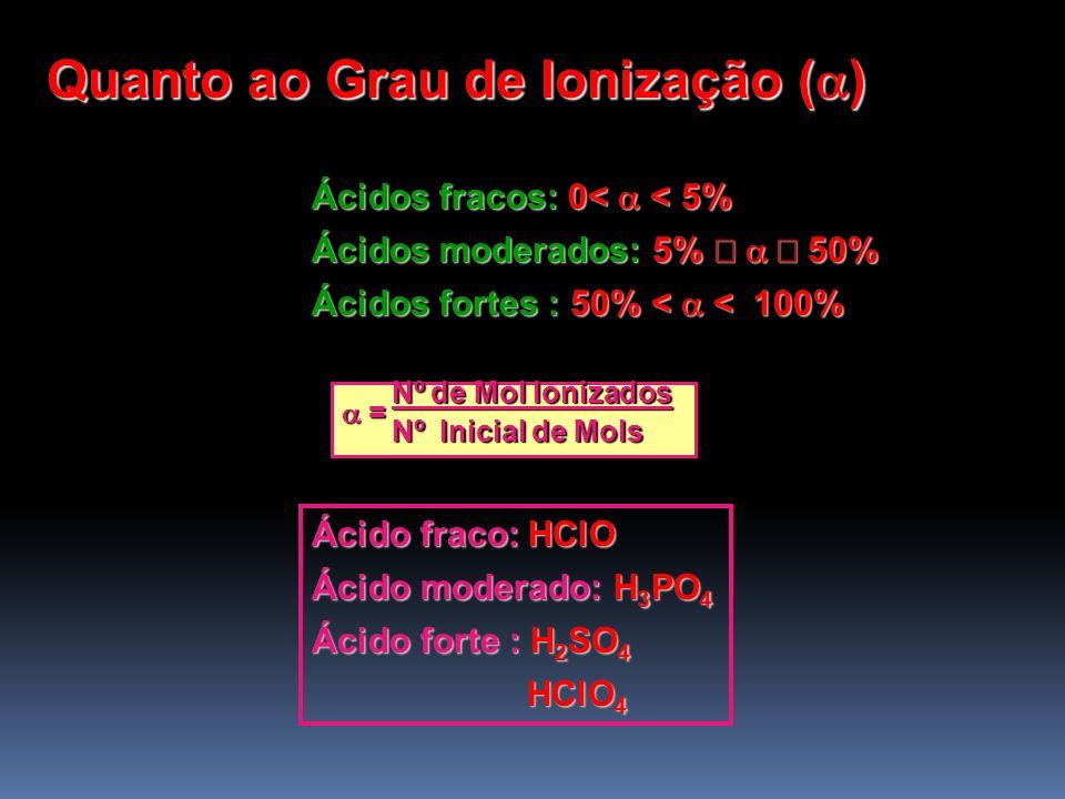Quanto ao Grau de Ionização ( ) Ácidos fracos: 0< < 5% Ácidos moderados: 5% 50% Ácidos fortes : 50% < < 100% Nº de Mol Ionizados Nº de Mol Ionizados =