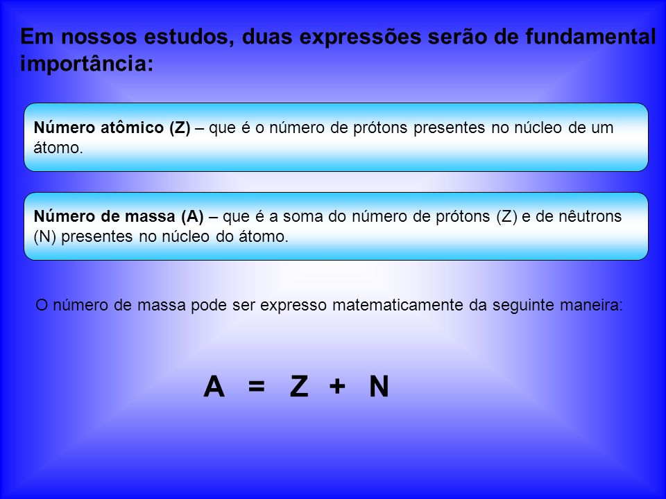 Representação química Convencionalmente, ao representar um átomo, o número atômico vem na parte inferior esquerda e a massa na parte superior à direita ou esquerda.