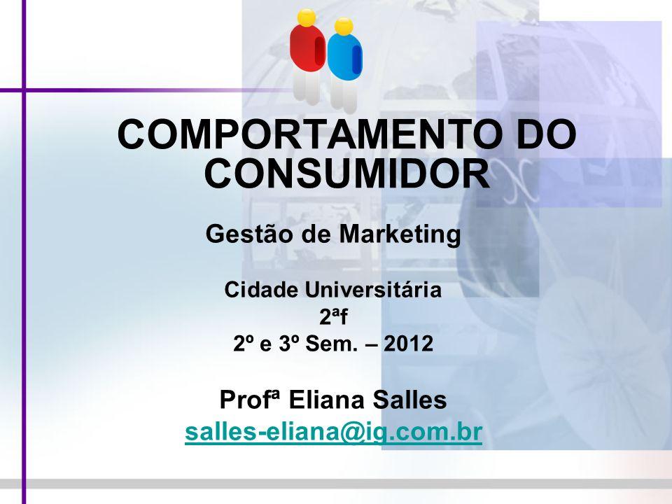 COMPORTAMENTO DO CONSUMIDOR Gestão de Marketing Cidade Universitária 2ªf 2º e 3º Sem. – 2012 Profª Eliana Salles salles-eliana@ig.com.br