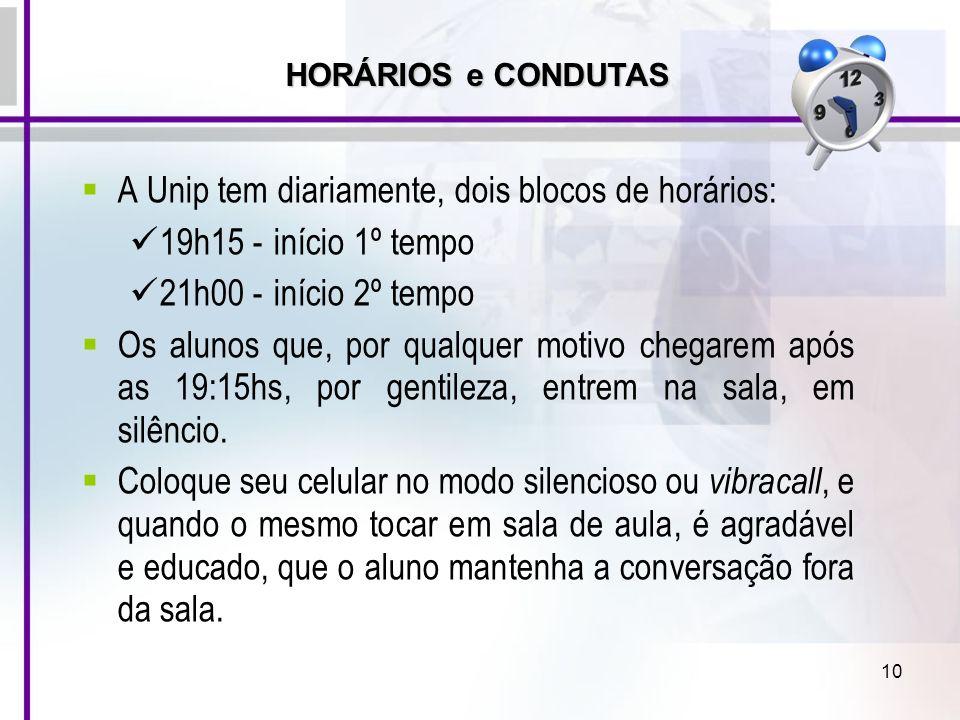 10 A Unip tem diariamente, dois blocos de horários: 19h15 -início 1º tempo 21h00 -início 2º tempo Os alunos que, por qualquer motivo chegarem após as