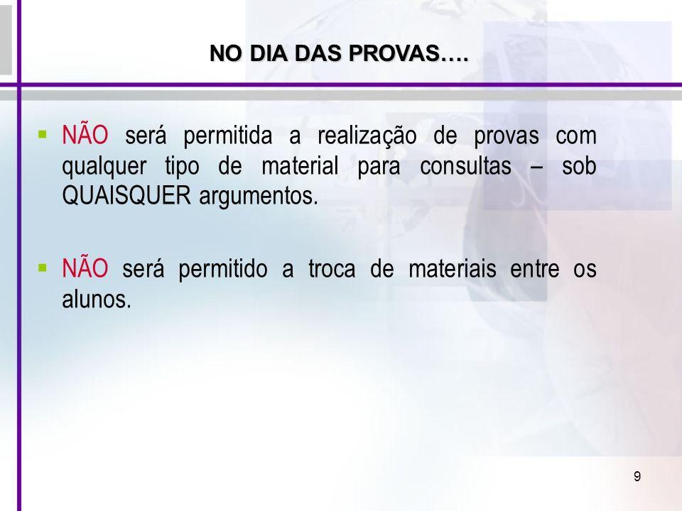 9 NÃO será permitida a realização de provas com qualquer tipo de material para consultas – sob QUAISQUER argumentos. NÃO será permitido a troca de mat
