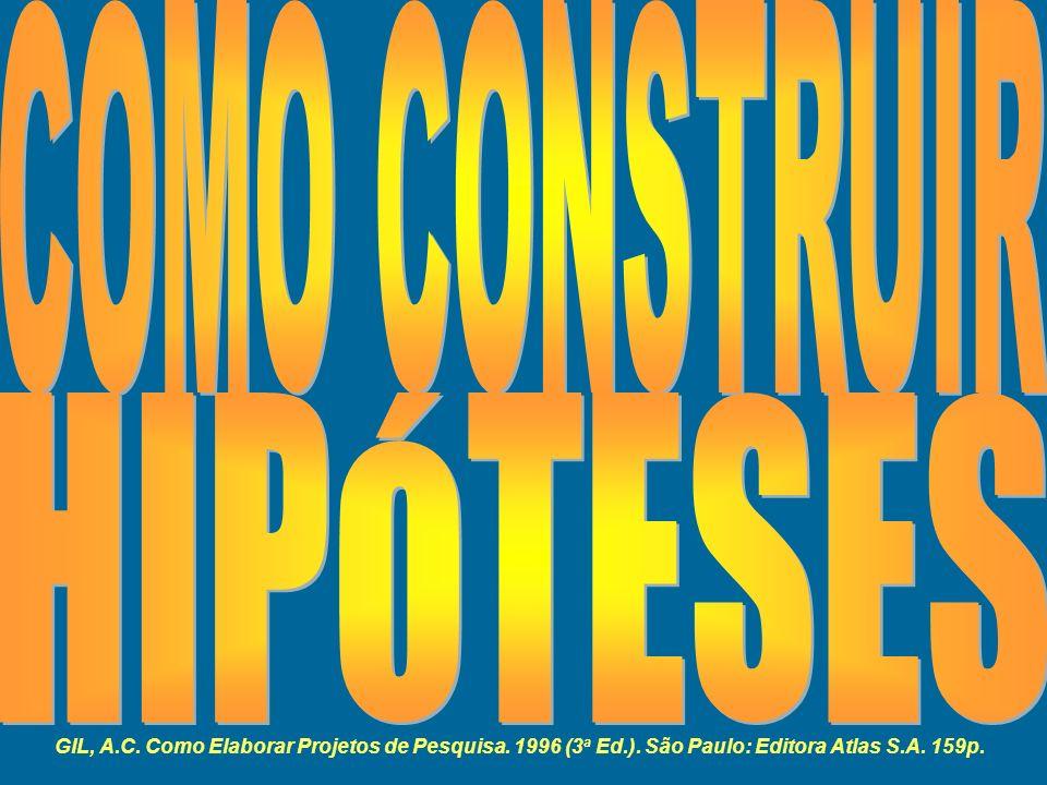 GIL, A.C. Como Elaborar Projetos de Pesquisa. 1996 (3 a Ed.). São Paulo: Editora Atlas S.A. 159p.