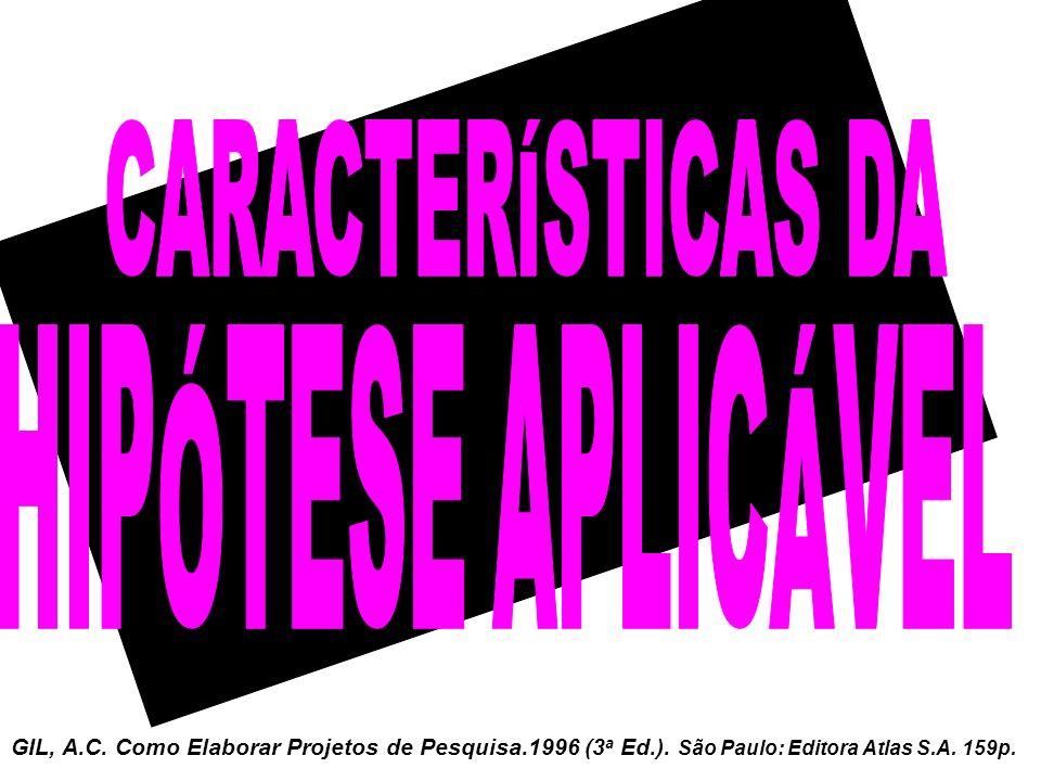 GIL, A.C. Como Elaborar Projetos de Pesquisa.1996 (3 a Ed.). São Paulo: Editora Atlas S.A. 159p.