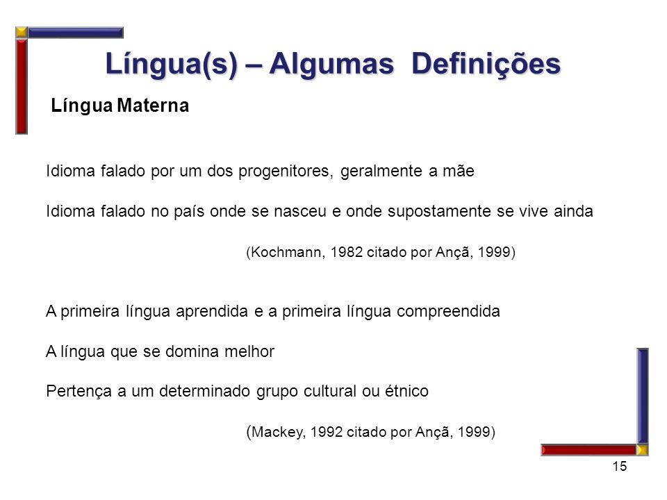 15 Língua(s) – Algumas Definições Língua Materna Idioma falado por um dos progenitores, geralmente a mãe Idioma falado no país onde se nasceu e onde s