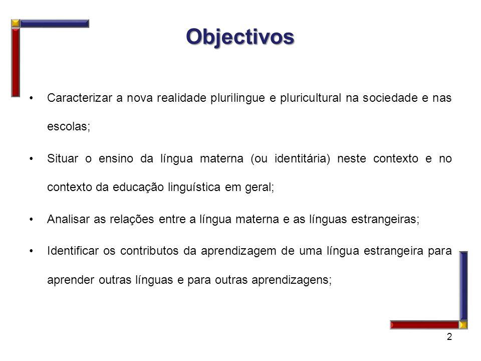 Objectivos Caracterizar a nova realidade plurilingue e pluricultural na sociedade e nas escolas; Situar o ensino da língua materna (ou identitária) ne