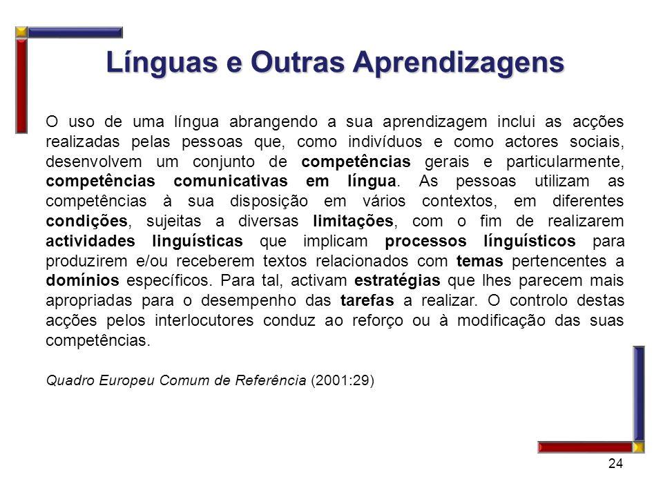 24 Línguas e Outras Aprendizagens Línguas e Outras Aprendizagens O uso de uma língua abrangendo a sua aprendizagem inclui as acções realizadas pelas p
