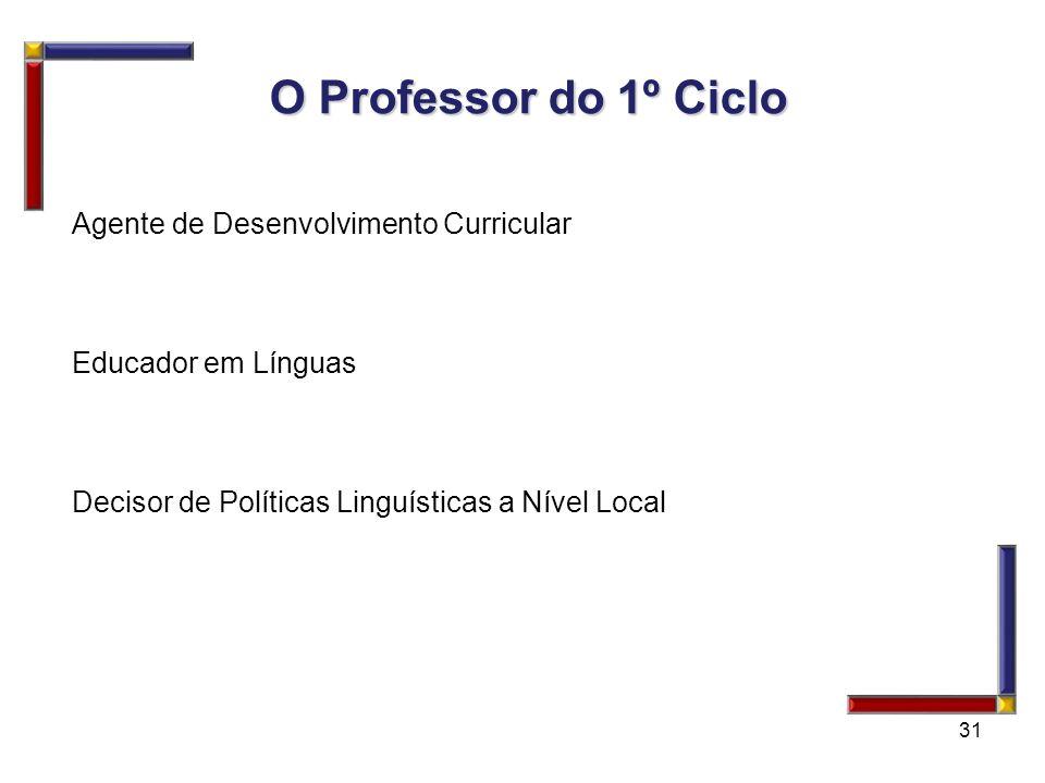 31 O Professor do 1º Ciclo O Professor do 1º Ciclo Agente de Desenvolvimento Curricular Educador em Línguas Decisor de Políticas Linguísticas a Nível