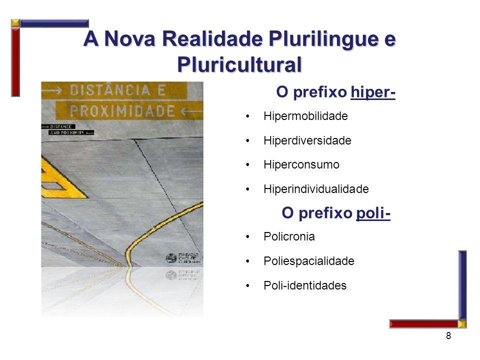 O prefixo hiper- Hipermobilidade Hiperdiversidade Hiperconsumo Hiperindividualidade O prefixo poli- Policronia Poliespacialidade Poli-identidades 8 A
