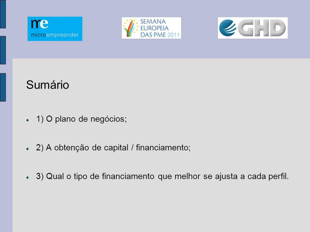 Sumário 1) O plano de negócios; 2) A obtenção de capital / financiamento; 3) Qual o tipo de financiamento que melhor se ajusta a cada perfil.