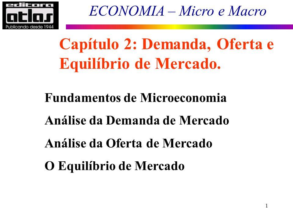 ECONOMIA – Micro e Macro 1 Fundamentos de Microeconomia Análise da Demanda de Mercado Análise da Oferta de Mercado O Equilíbrio de Mercado Capítulo 2:
