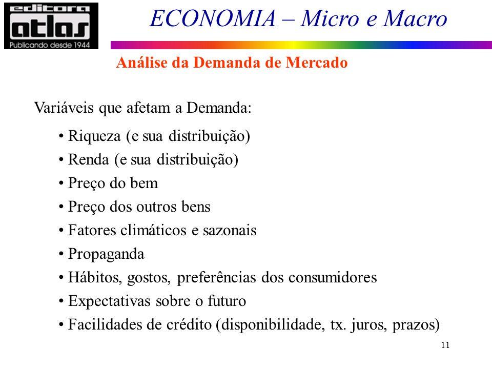 ECONOMIA – Micro e Macro 11 Variáveis que afetam a Demanda: Riqueza (e sua distribuição) Renda (e sua distribuição) Preço do bem Preço dos outros bens