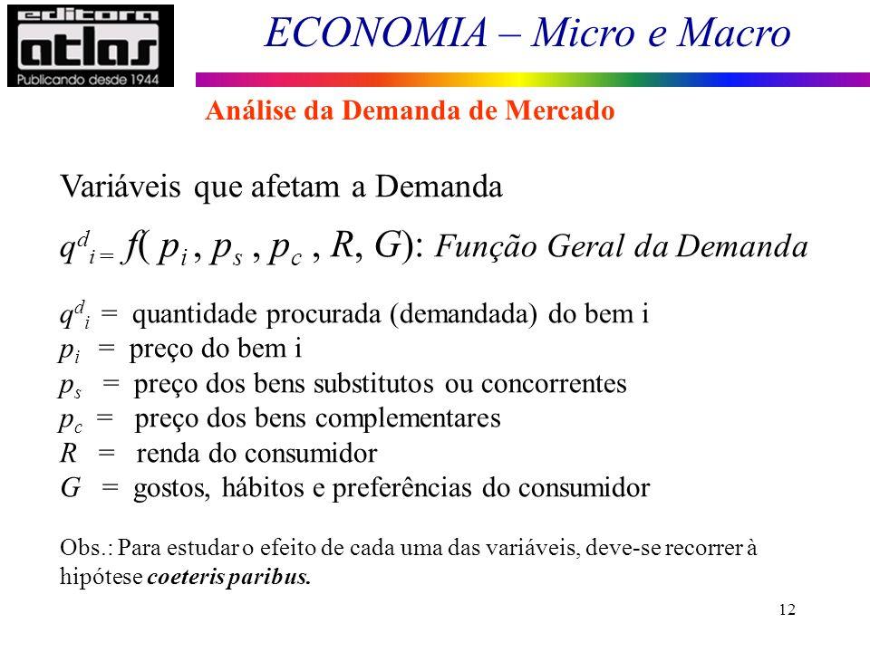 ECONOMIA – Micro e Macro 12 Variáveis que afetam a Demanda q d i = f( p i, p s, p c, R, G): Função Geral da Demanda q d i = quantidade procurada (dema