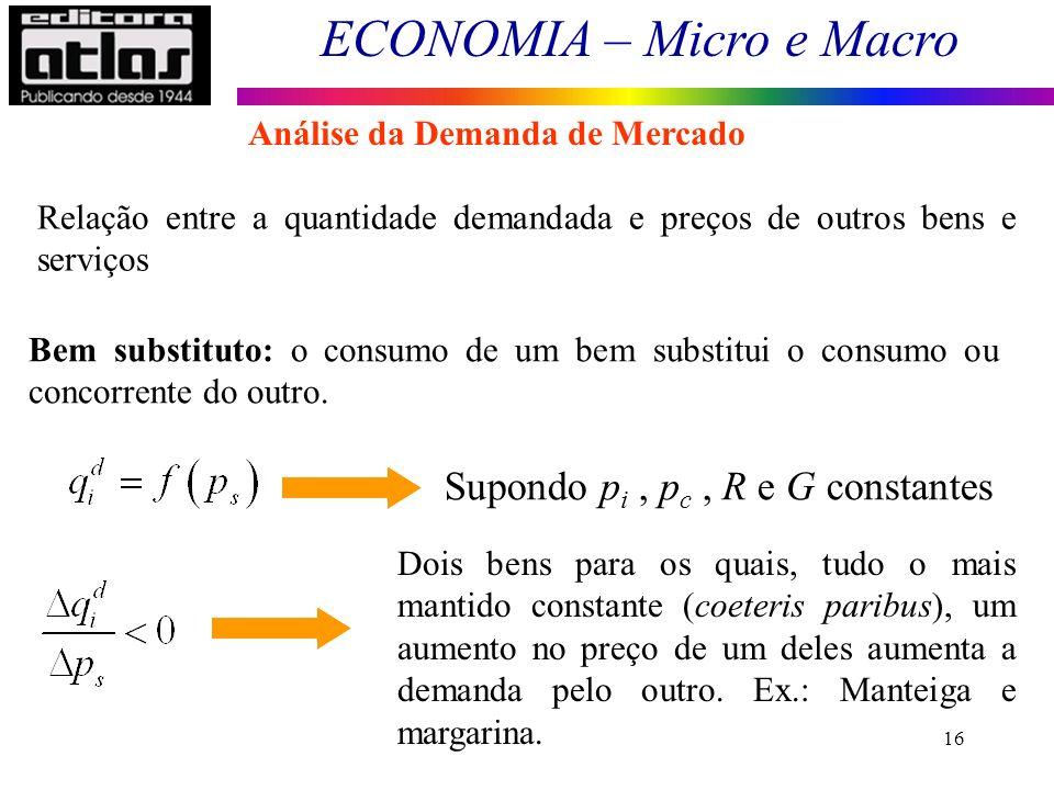 ECONOMIA – Micro e Macro 16 Relação entre a quantidade demandada e preços de outros bens e serviços Bem substituto: o consumo de um bem substitui o co
