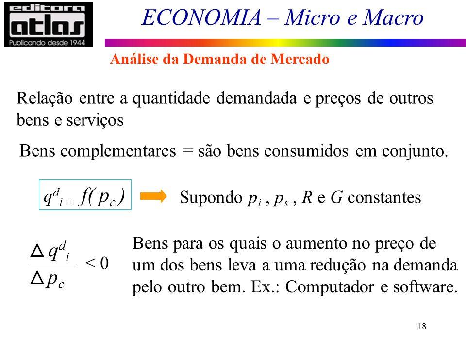 ECONOMIA – Micro e Macro 18 Relação entre a quantidade demandada e preços de outros bens e serviços Bens complementares = são bens consumidos em conju