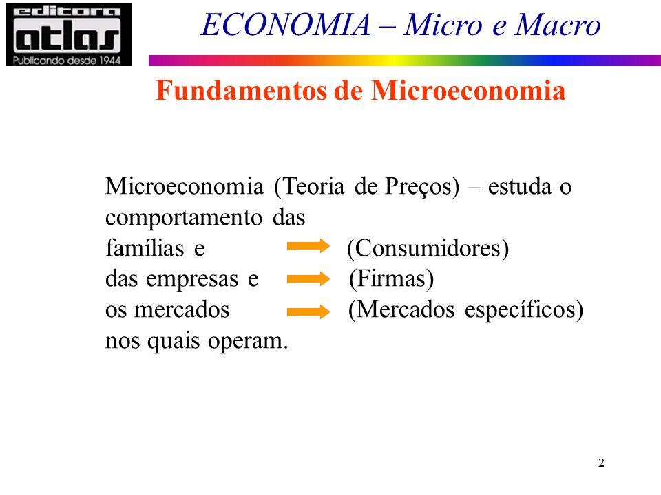 ECONOMIA – Micro e Macro 2 Fundamentos de Microeconomia Microeconomia (Teoria de Preços) – estuda o comportamento das famílias e (Consumidores) das em