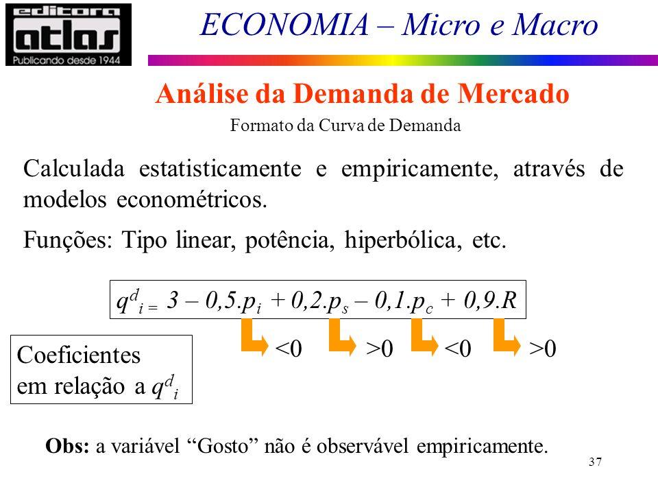 ECONOMIA – Micro e Macro 37 Formato da Curva de Demanda Calculada estatisticamente e empiricamente, através de modelos econométricos. Funções: Tipo li