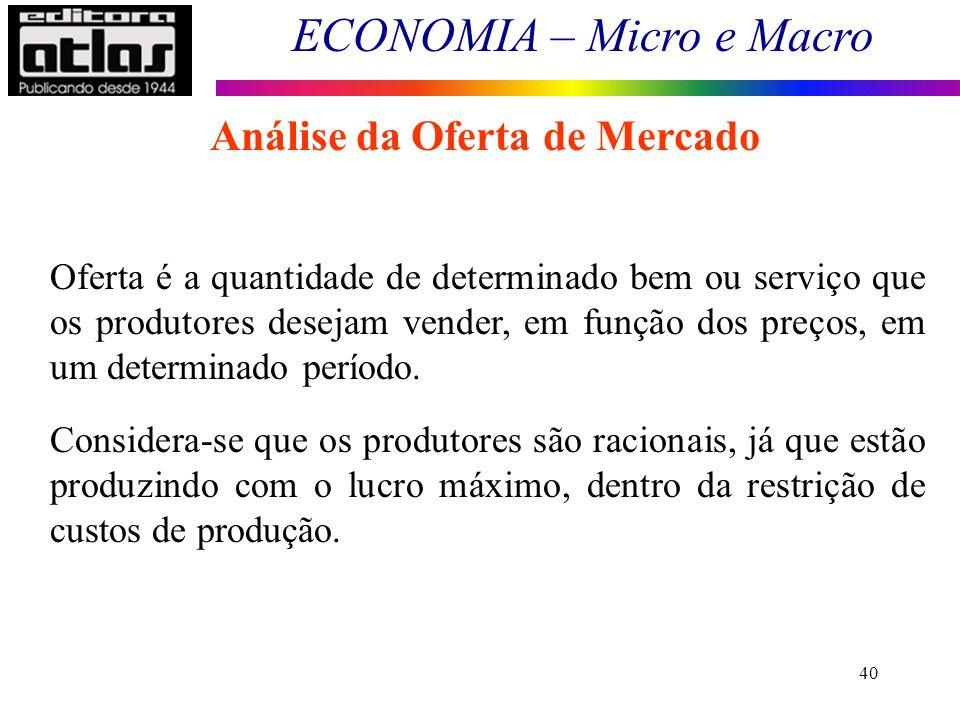 ECONOMIA – Micro e Macro 40 Análise da Oferta de Mercado Oferta é a quantidade de determinado bem ou serviço que os produtores desejam vender, em funç