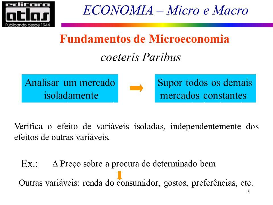 ECONOMIA – Micro e Macro 5 Fundamentos de Microeconomia coeteris Paribus Analisar um mercado isoladamente Supor todos os demais mercados constantes -