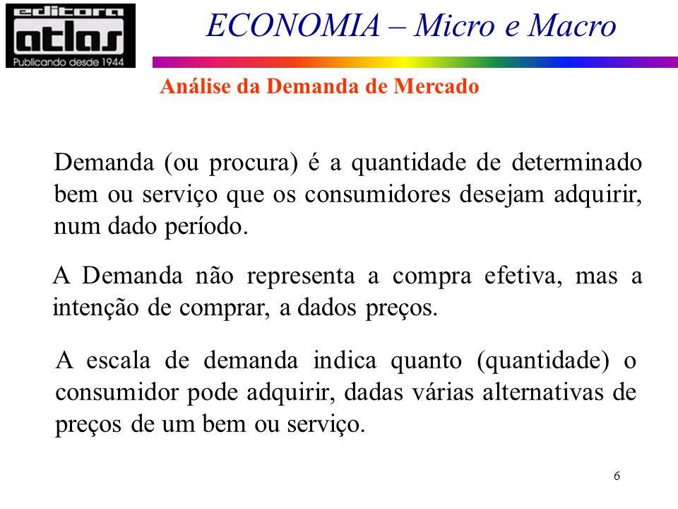 ECONOMIA – Micro e Macro 6 Demanda (ou procura) é a quantidade de determinado bem ou serviço que os consumidores desejam adquirir, num dado período. A