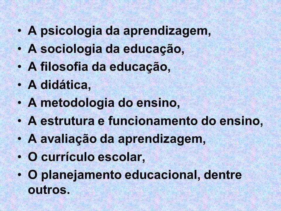A psicologia da aprendizagem, A sociologia da educação, A filosofia da educação, A didática, A metodologia do ensino, A estrutura e funcionamento do e
