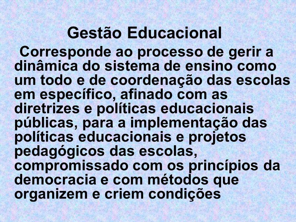 Gestão Educacional Corresponde ao processo de gerir a dinâmica do sistema de ensino como um todo e de coordenação das escolas em específico, afinado c