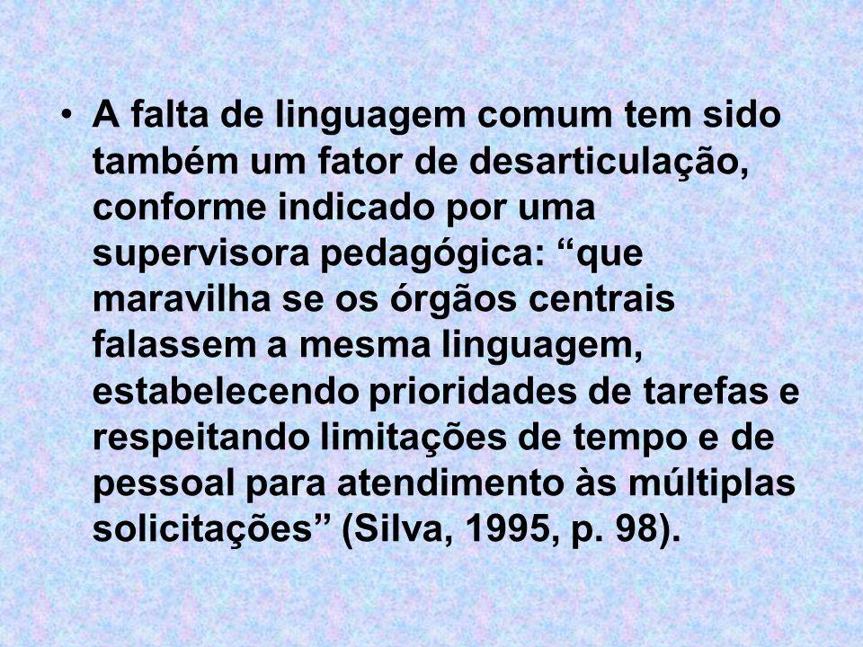 A falta de linguagem comum tem sido também um fator de desarticulação, conforme indicado por uma supervisora pedagógica: que maravilha se os órgãos ce
