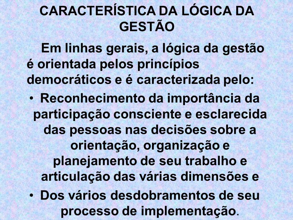 CARACTERÍSTICA DA LÓGICA DA GESTÃO Em linhas gerais, a lógica da gestão é orientada pelos princípios democráticos e é caracterizada pelo: Reconhecimen